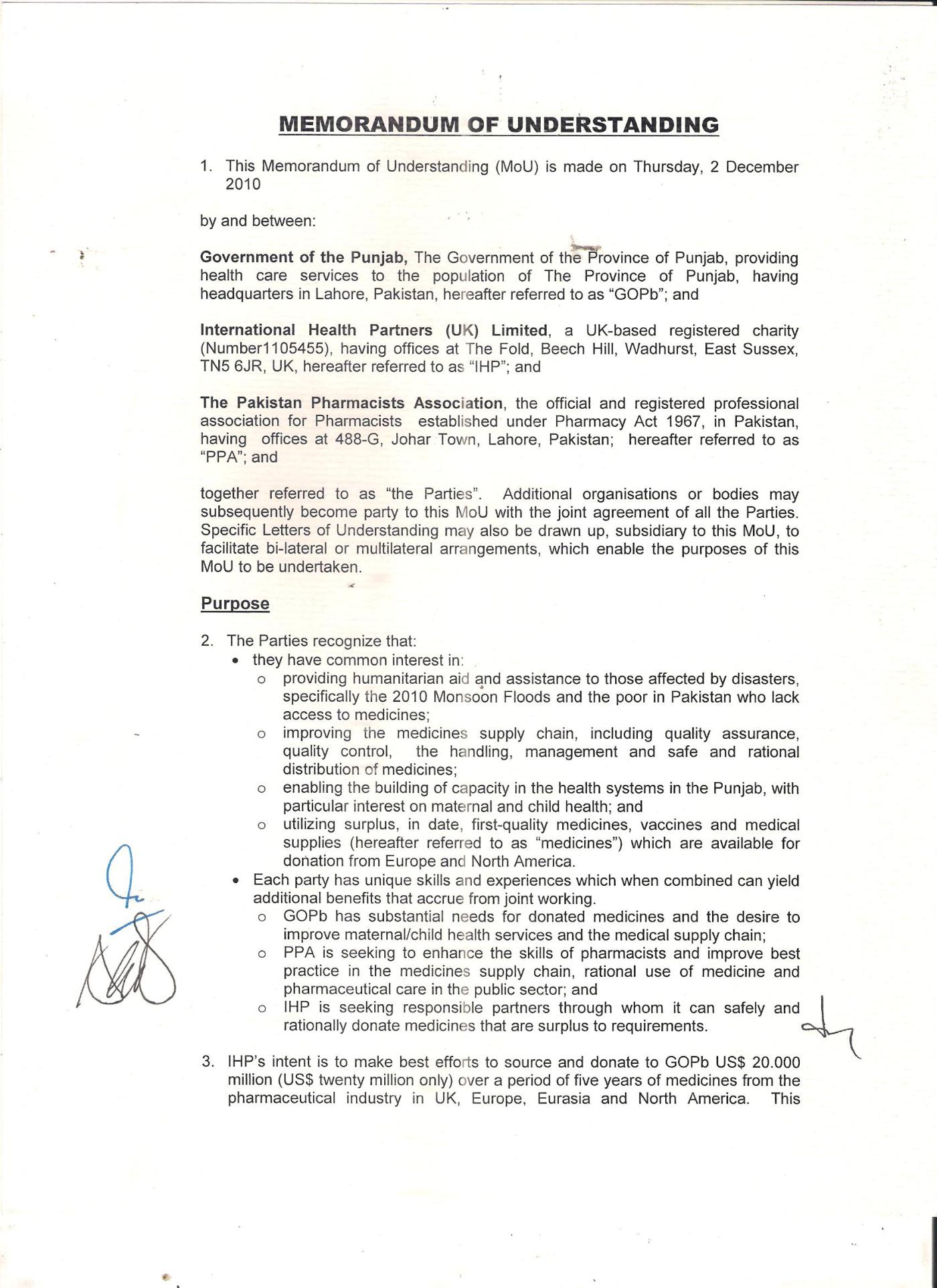 Memorandum Of Understanding (MOU) Between Pakistan